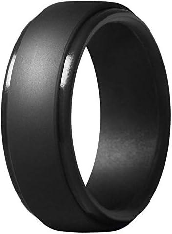 8Mm 人気迷彩、シルバー?ブラック、男性のシリコーン製のクールなリング、女性のラバーのウェディング指輪、環境にやさしいスポーツ指輪#7