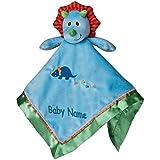 Personalized Okey Dokey Dino Blanket & Toy - 17 Inch - Blue Embroidery, CUSTOM NAME