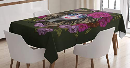 Lunarable Makeup Tablecloth, Calavera Day of The Dead Mexican Sugar Skull Faced Woman with Floral Head Halloween, Dining Room Kitchen Rectangular Table Cover, 52 W X 70 L Inches, -