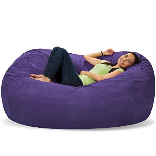 Micro Suede Bean Bag Lounger (Comfy Sacks 6 ft Lounger Memory Foam Bean Bag Chair, Purple Micro Suede)