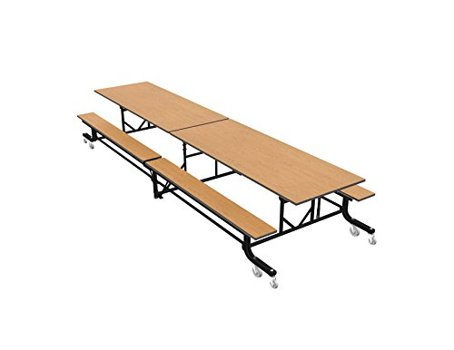 Palmer Hamilton 19F Easy Folding Mobile School Table, Bench, Oak/Black 29x30x144, Cafeteria ()
