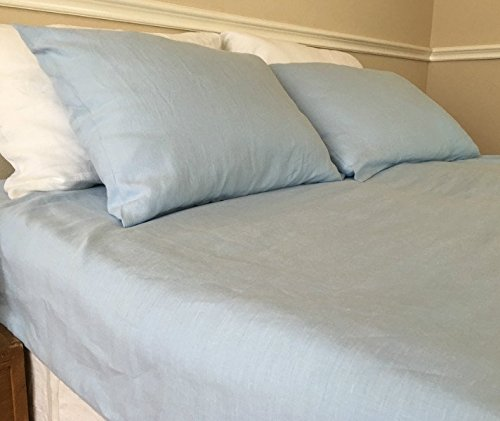 French Blue Bed Sheets, Natural Linen Bed Sheets, Blue Bedding, Top Sheet,