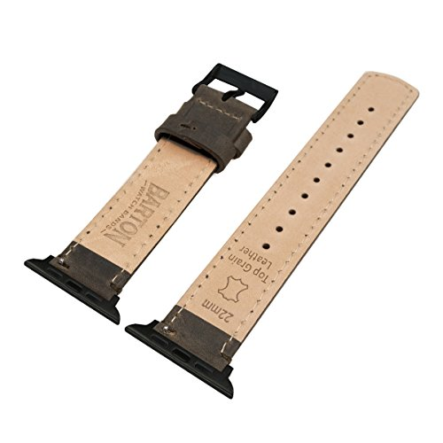 BARTON Leather Watch Bands for Apple Watch - Black Hardware for 42mm & 38mm -Espresso Leather & Stitching by Barton Watch Bands (Image #4)