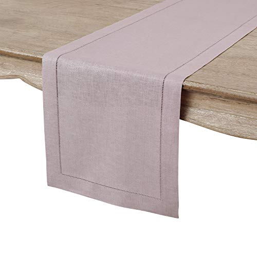 Solino Home Hemstitch Linen Table Runner - 14 x 48 Inch, Handcrafted from European Flax, Machine Washable Classic Hemstitch - Lilac