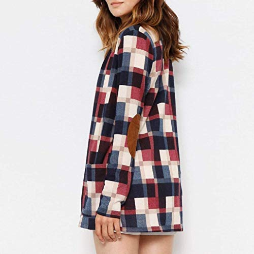 Blouson Longues Manches Carreaux Fashion Femme El Vintage Tops Cardigan gwqxgarIU