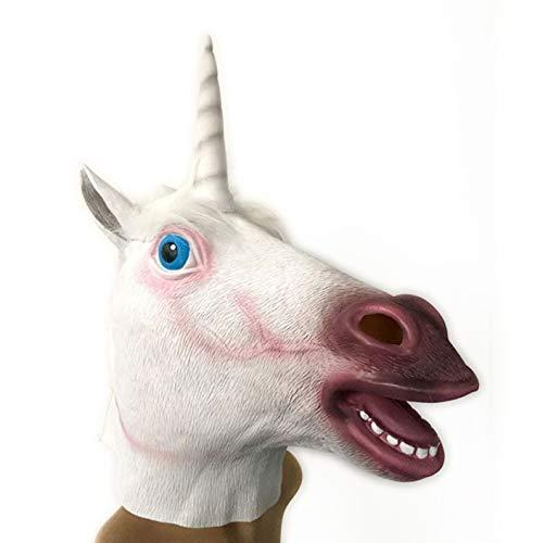 TECHSON Unicorn Head Mask, Novelty Costume Party Animal Mask Toy, Halloween Christmas Funny Photo Props