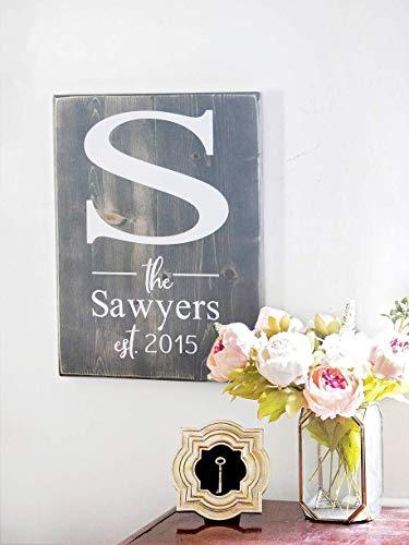 - Last Name Wood Sign - Monogram Initial Family Name Established Wood Sign - Personalized Wedding Gift