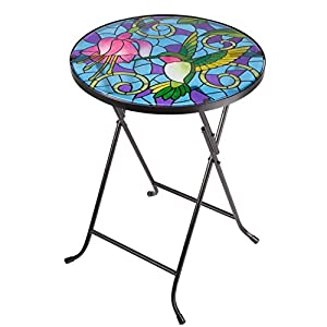 Folding Glass Garden Side Table Outdoor Patio Decking Hand-Painted Hummingbird Design