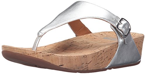 Skinny Flip Flop, Silver, 5 M US (Cork Leather Flip Flops)