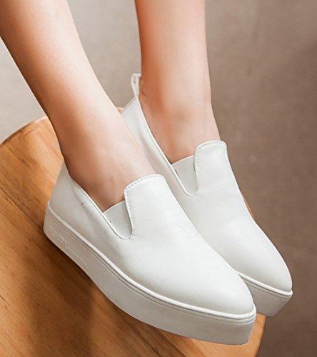 Idifu Mujeres Casual Cerrado Dedo Del Pie Puntiagudo Slip On Loafers Sneakers Flat Platform Zapatos Blanco