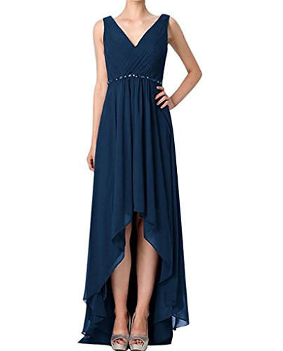 Low A Long Wedding Straps Dress Bridesmaid Chiffon Line Back Short Dresses Blue Front Zipper Beads High Back dF4qYRd
