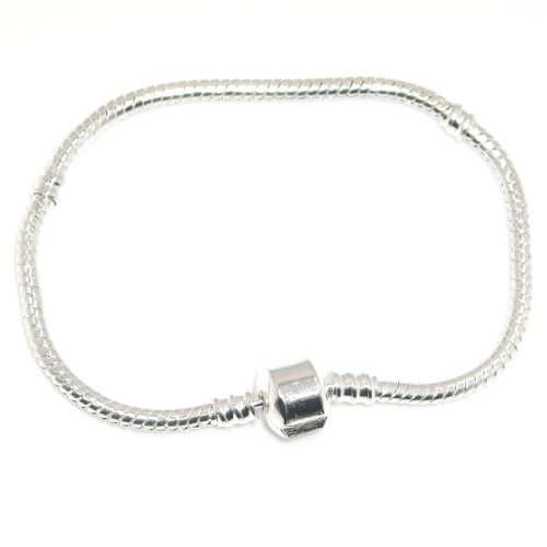 """Jewelry Monster Silver Plated Snake Chain Charm Bracelet w/ Barrel Clasp Size 9.1""""/23cm"""
