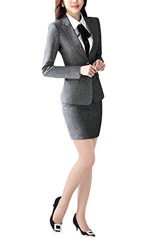 c16fc3bc5298 SK Studio Damen Business Hosenanzuge Slim Fit Blazer Reverskragen Karriere  Hosen Anzug Set  Amazon.de  Bekleidung