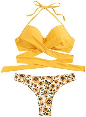 Outeck Bikini Swimsuit Women Sunflower Print Crossover Halter Criss Cross Cheeky Two Piece Bathing Suit / Outeck Bikini Swimsuit Women Sunflower Print Crossover Halter Criss Cross Cheeky Two Piece Bathing Suit