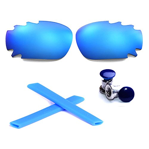 Walleva Polarized Vented Lenses + Rubber + Bolt For Oakley Jawbone - Multiple Options Available (Ice Blue Polarized Lenses + Blue Rubber + Navy Blue Bolt)