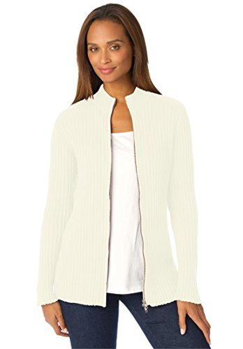 Ribbed Cotton Cardigan With Zip Front – 18-20, Ivory