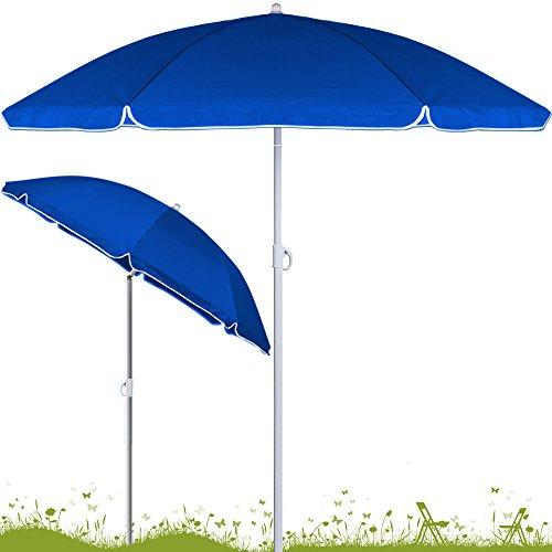 Sonnenschirm höhenverstellbar mit Neigefunktion 180cm blau - Strandschirm Marktschirm Gartenschirm