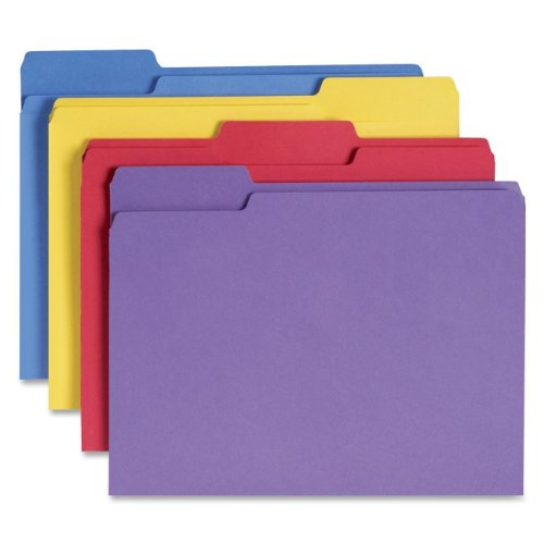 Smead File Folder with Antimicrobial Product Protection, 1/3-Cut Tab, Letter Size, Assorted Colors, 100 per Box (10349) (Antimicrobial Top Tab Folders)