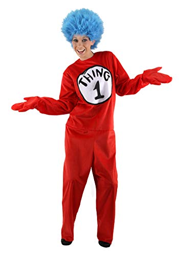 Two Person Halloween Costume Ideas (elope Thing 1 & 2 Costume Red Deluxe Jumpsuit and Wig, Adult)