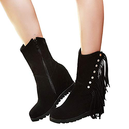 Women Zipper Shoes Suede Snow Boots Round Toe Wedges Tassel Middle Tube Black