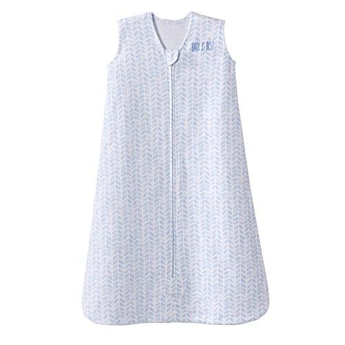 100% Cotton Sleepsack Wearable Blanket Platinum Series, Pale Blue Cheveron, ()