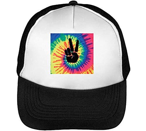 Hippie Lucky Tie Dye Gorras Hombre Snapback Beisbol Negro Blanco