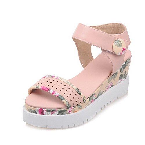 Sandals Toe High Heels AgooLar Women's and loop Open Hook Assorted Pink PU Color nwUxnW