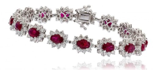 14.22CT Certified G/VS2 Ruby Oval Shape Centre with Round Brilliant Cut Claw Set Halo Diamond Bracelet in 18K White Gold
