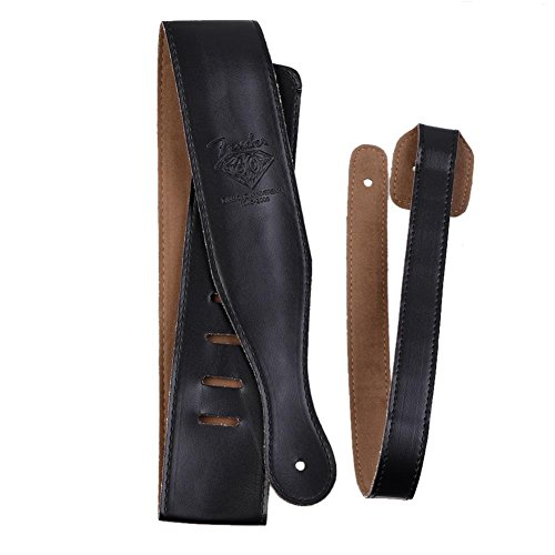Candora Leather Guitar Strap for Electric / Acoustic / Bass Guitar(Micro Fiber Leather) Anti-friction-Classical - Black
