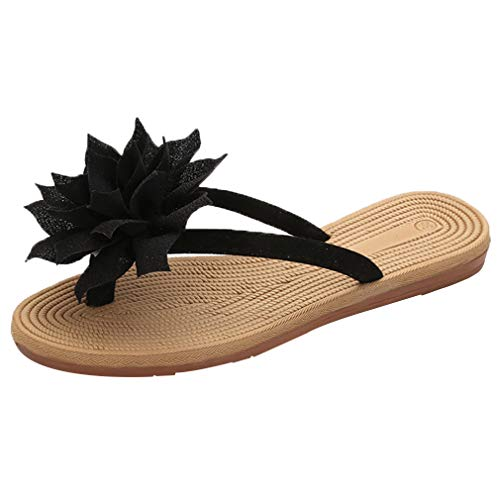 (N.N.G Women Summer Mules Flower Fashion Platform Soft Thong Beach Sandals Black)