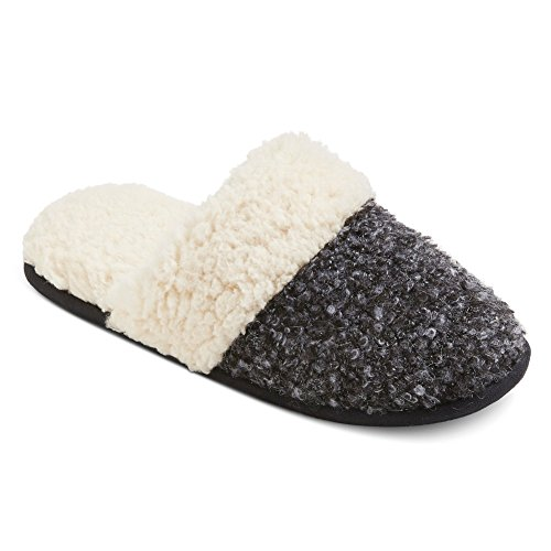 Dluxe By Dearfoams - Pull Calista - Chaussons Coulissants En Tricot Noir / Gris