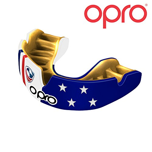 (OPRO Power-Fit Mouthguard | Gum Shield for Football, Rugby, Hockey, Wrestling, and Other Combat and Contact Sports - 18 Month Dental Warranty (USA Rugby, Adult))