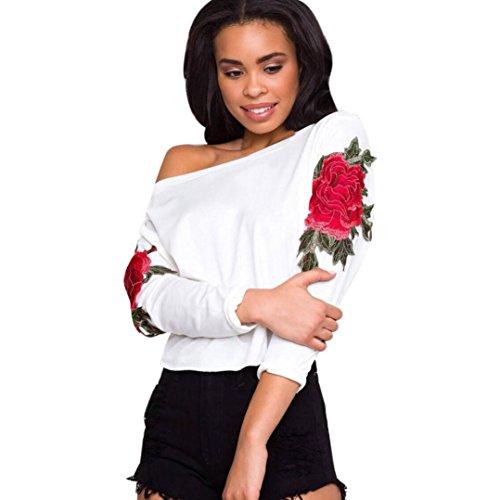 HARRYSTORE La impresión de las mujeres fuera del hombro verano camisa de manga larga Blusa Casual Tops pagoda camiseta de manga larga Blanco