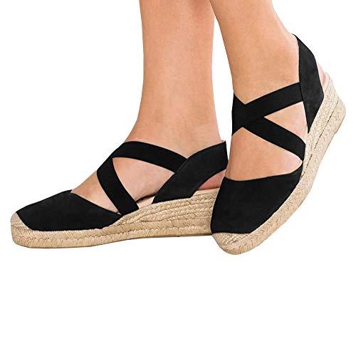 (Nailyhome Womens Espadrilles Platform Wedge Sandals Elastic Crisscross Strappy Closed Toe Mid Heel Sandals Black)