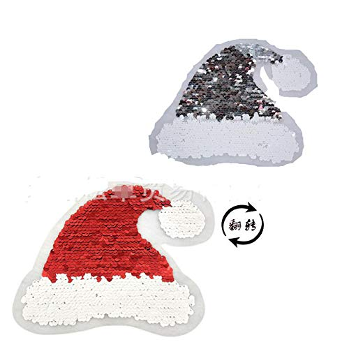 Patch - Double Sided Flip Chip Embroidered Christmas Hat Two Sequined Cloth Diy - Side Pouch Mermaid Toys Slap Smile Unicorn Jacket Shiny Backpack Women Stuff Ears Iphone Bracelets Cloth Bracele ()