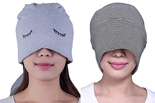 BW Women Men Cotton Sleeping Cap with Eye Mask Chemo Beanie Hat 2 Pack A by BW