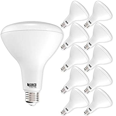 Sunco Lighting 10 Pack BR40 LED Light Bulb 17 Watt (100 Equivalent) Flood Dimmable 4000K Kelvin Cool White 1400 Lumens Indoor/Outdoor 25000 Hrs Use In Home, Office And More - UL & ENERGY STAR LISTED