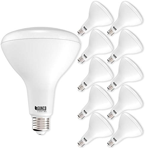 Sunco Lighting 10 Pack BR40 LED Light Bulb 17 Watt (100 Equivalent) Flood Dimmable 3000K Kelvin Warm White 1400 Lumens Indoor/Outdoor 25000 Hrs Use In Home, Office And More - UL & ENERGY STAR LISTED