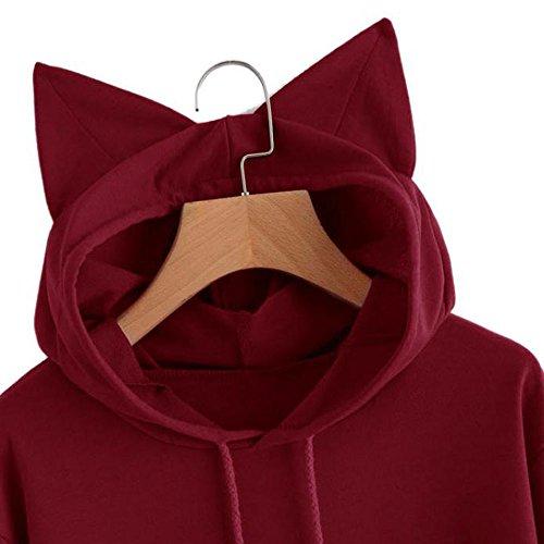 à Longues Manches Femmes à Rouge Sleeve Shirt Long Beikoard Capuche Hooded Femme Shirt Pullover Tops Chemisier Sweat Cat pour Sweat Zqxw7xa