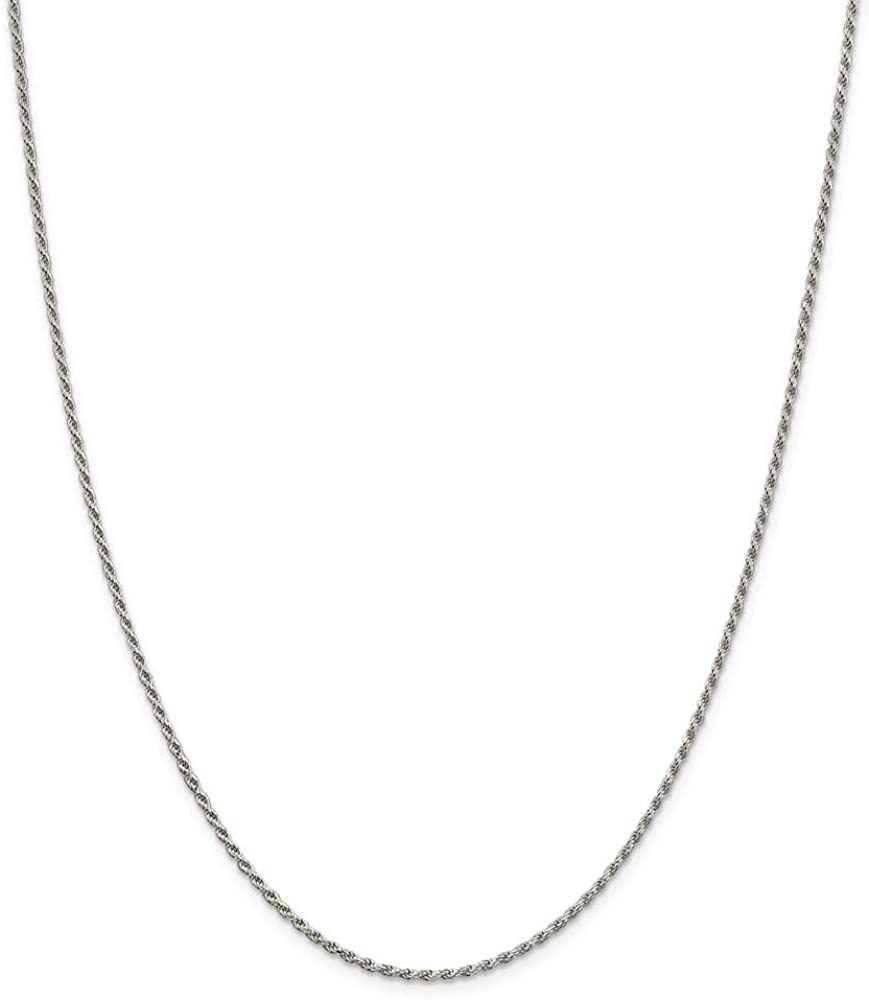 925 Sterling Silver Rhodium-plated Sparkle-Cut Rope Chain Necklace in Silver Choice of Lengths 16 18 20 24 22 26 28 30 and Variety of mm Options