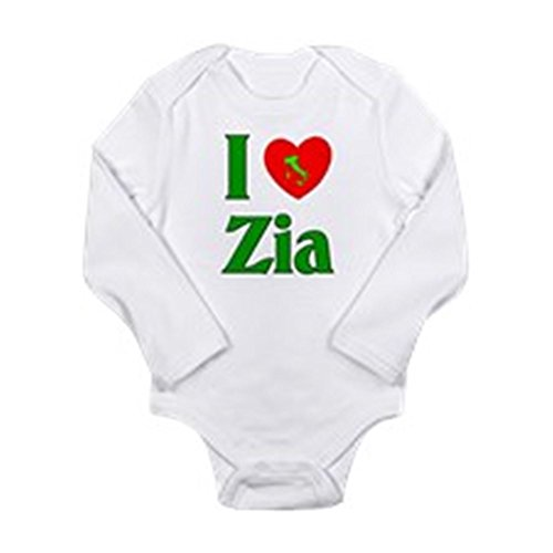 CafePress - I Love Zia (Italian Aunt) Body Suit - Cute Long Sleeve Infant Bodysuit Baby - I Love Zia