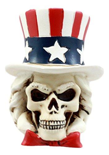 Ebros Gift Uncle Sam Wants You Miniature Skull Figurine Patriotic Skeleton Bust Decorative Statue