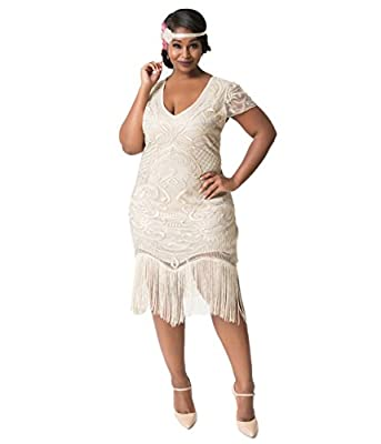 Unique Vintage Plus Size 1920s Style Champagne Beaded Fringe Aurore Flapper Dress