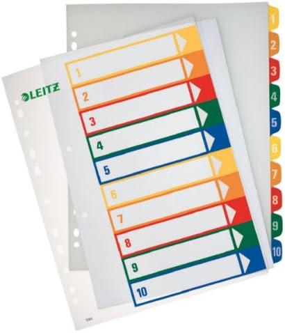 Extrabreit Mehrfarbig 20 Trennbl/ätter Leitz A4 Register PP Beschriftbares Deckblatt 1-20 12960000