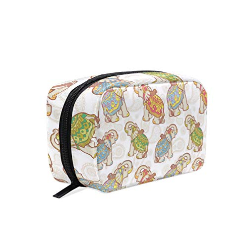 Portable Organizer Makeup bag,Indian Elephant Cosmetic Bags Multi Compartment Travel Pouch Storage for Women (Best Office Wear Lipstick For Indian Skin)