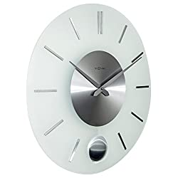 Unek Goods NeXtime Stripe Pendulum Round Wall Clock, Battery Operated
