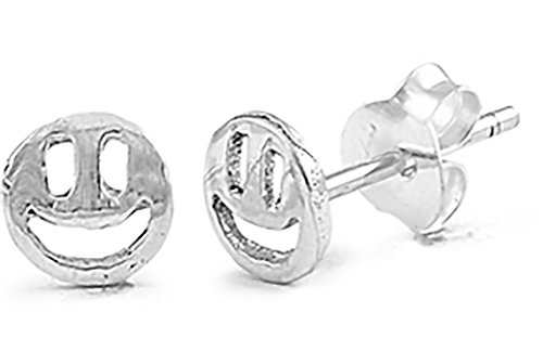 - Sterling Silver Mini Solid Smiley Face Earrings on Posts