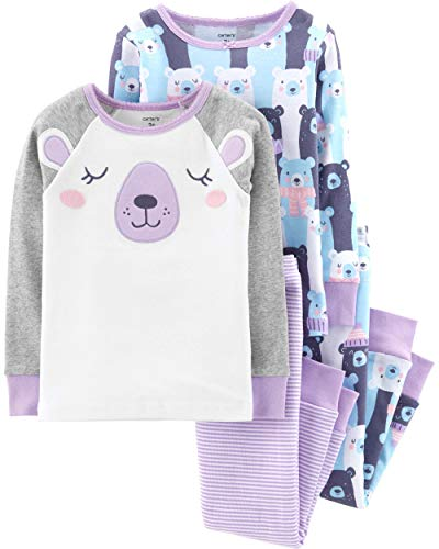 Purple Fleece Pajamas - Carter's Baby Girls' 4 Pc Cotton (5T, Purple Bear)