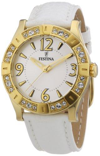 Festina Women's F16580/1 White Leather Analog Quartz Watch with White Dial