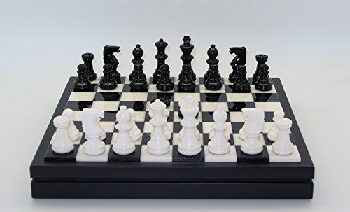 Black Alabaster Checkers (Alabaster Chest Chess Set in Black / White)